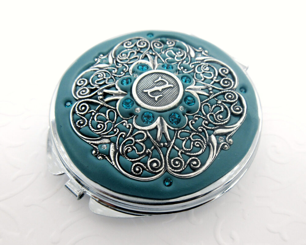 Teal | Bridesmaid Personalized Gift Teal & Silver, Wedding, Custom Compact Mirror , Wedding Party