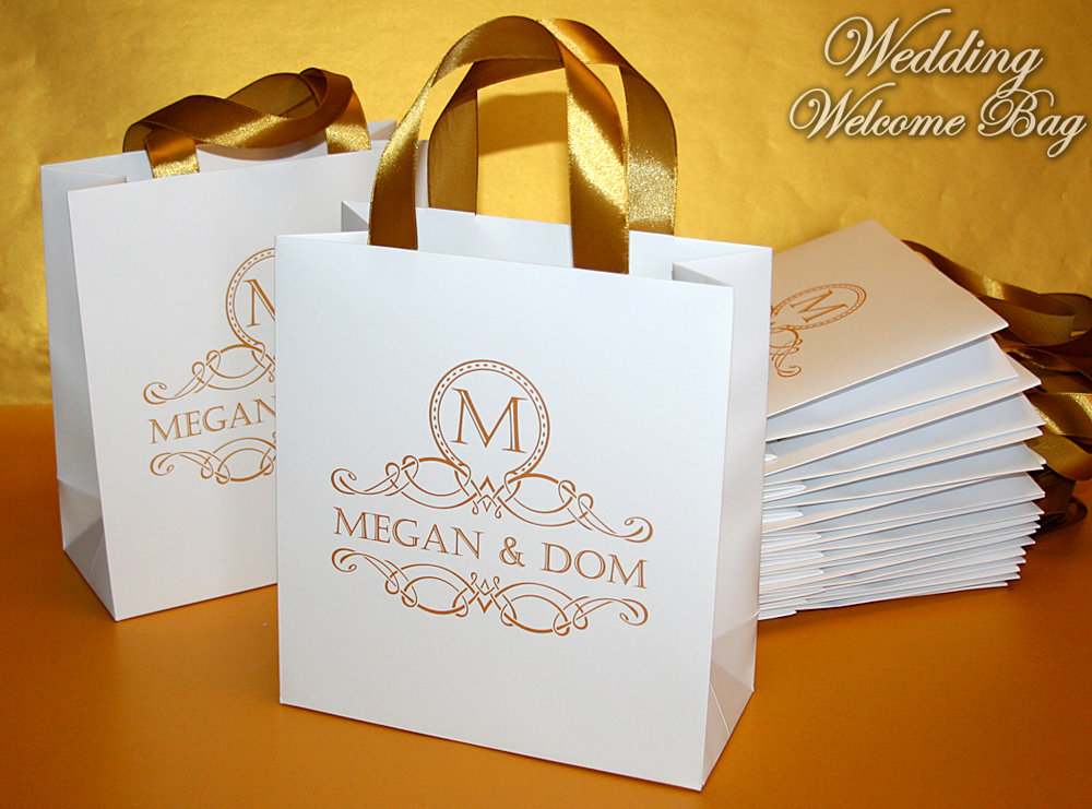 40 Logo Wedding Favor Bags With Ribbon & Names, Custom Gold Monogram Gift For Wedding Guests, Welcome Your