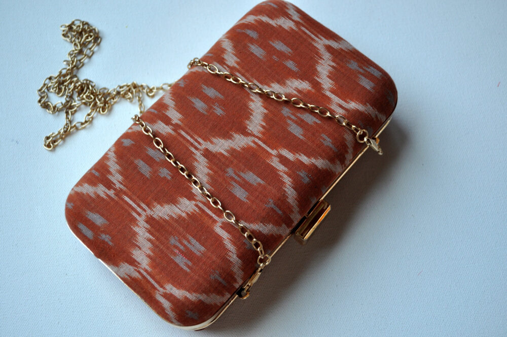 Ikat Box Clutch, Indian Sari Woven Handbag, Diwali, Gifts, Festival Gift, Wedding Guest Bridesmaid's Gift