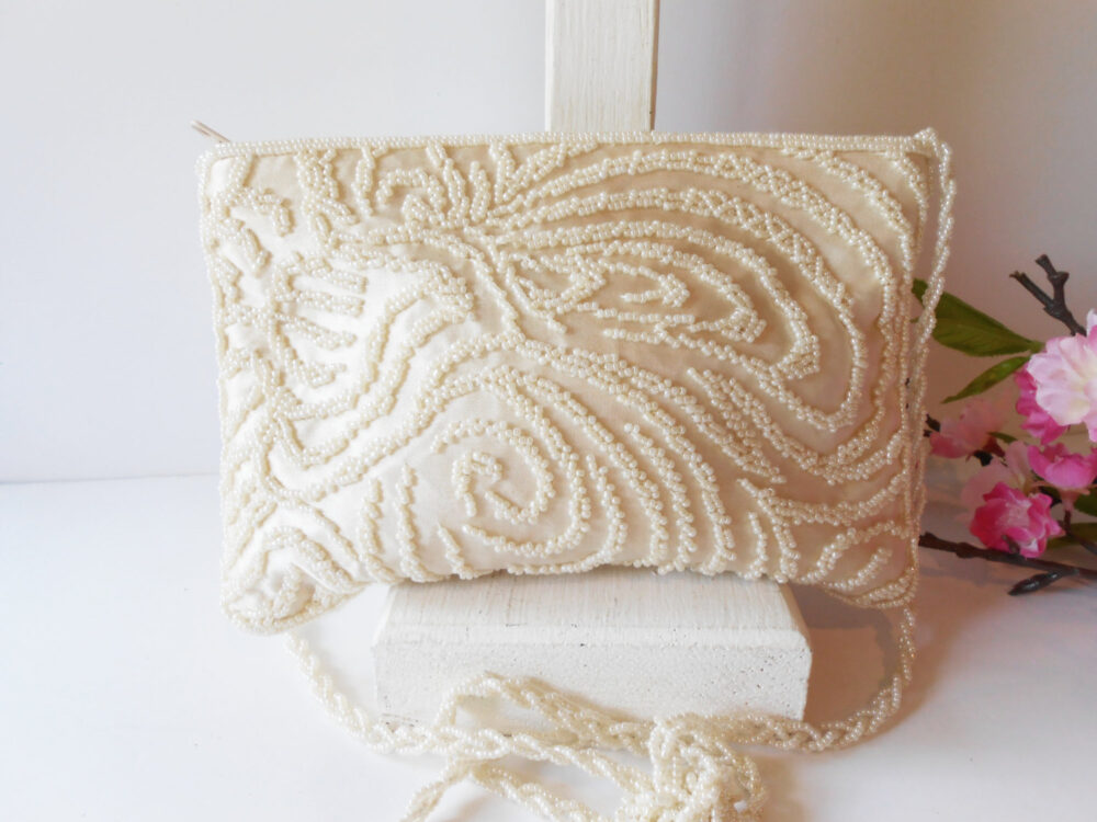 Vintage White Evening Bag, Beaded Clutch Handbag, Wedding Bridal, Eb-0015