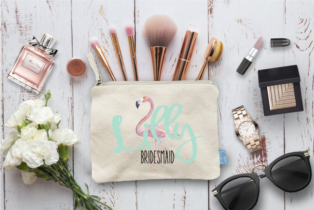 Flamingo Personalized Bridal Party Makeup Bag, Wedding Cosmetic Bridesmaid Pouch, Gift