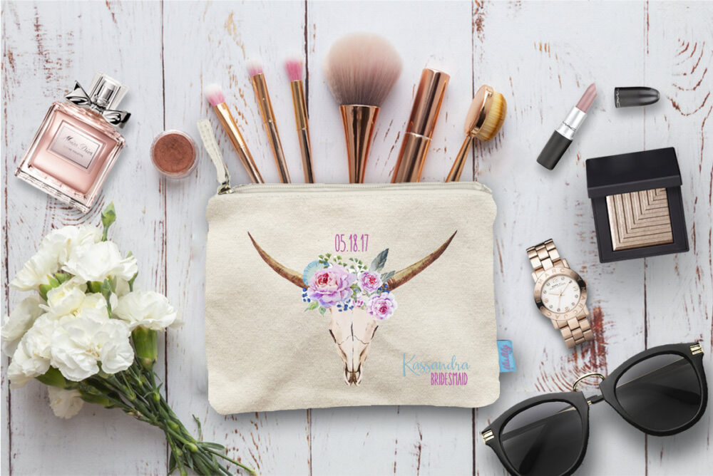 Floral Deer Personalized Makeup Bag, Wedding Day Party Cosmetic Bridesmaid Pouch, Gift, Pouch