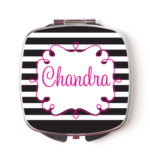 Custom Bridesmaids Gifts, Personalized Compact Mirror, Black & Pink Stripes, Wedding Party, Makeup Mirror