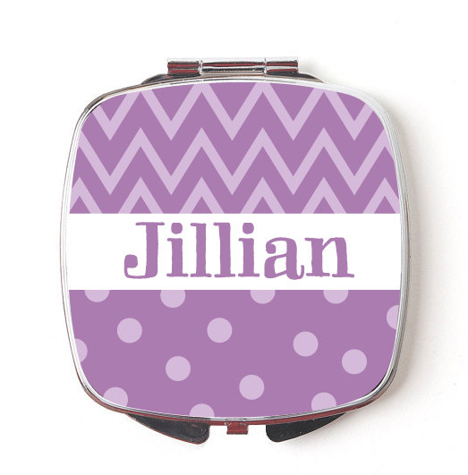 Custom Bridesmaids Gifts, Personalized Compact Mirror, Purple Chevron & Polkadot Design, Wedding Party, Makeup Mirror