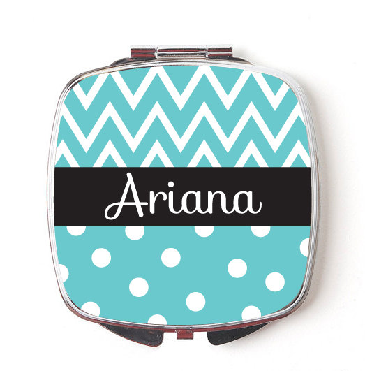 Custom Bridesmaids Gifts, Personalized Compact Mirror, Teal Chevron & Polkadot Design, Wedding Party, Makeup Mirror