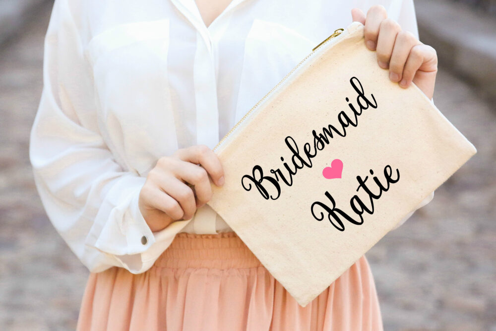 Personalized Bridesmaids Bridal Party Gift, Wedding Cosmetic Bag, Pouches, Bridesmaid Makeup Bags