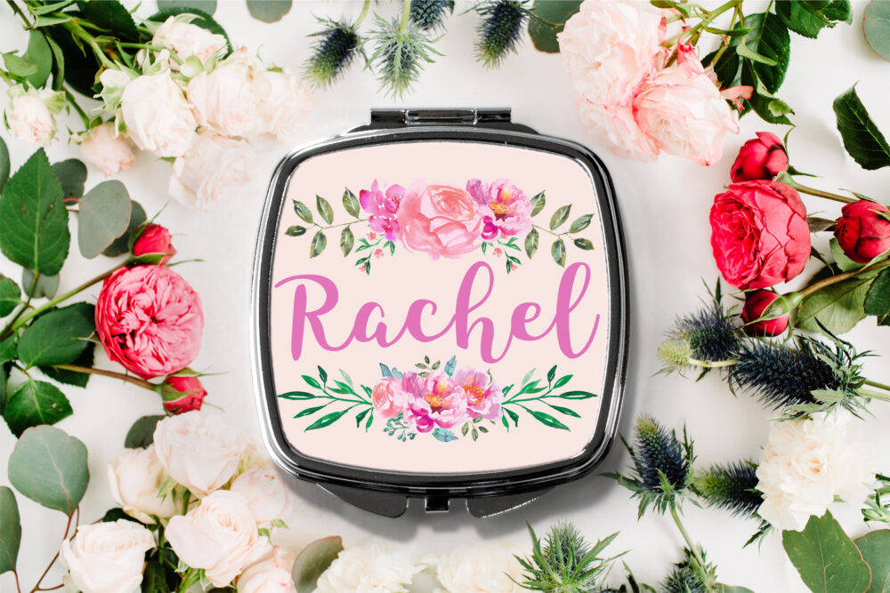 Fancy Floral Personalized Name Compact Mirror -Personalized Mirror, Bridesmaid Bridal Party Makeup