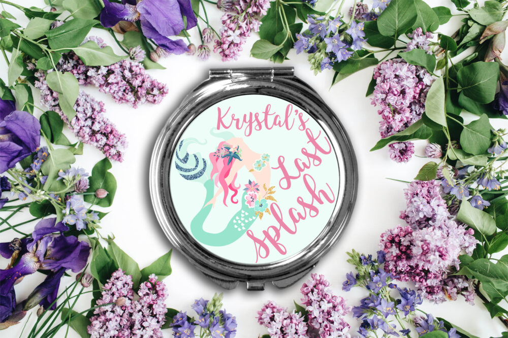 Last Splash Mermaid Compact Mirror -Personalized Mirror, Bridesmaid Bridal Party Makeup