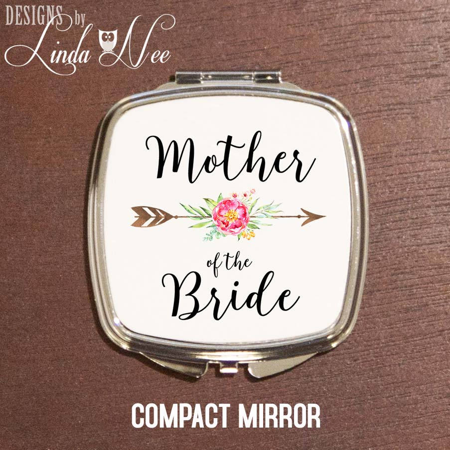 Mother Of The Bride Compact Mirror, Wedding Present Mother, Boho Gift, Mob Present, Personalized Pocket Mirror Makeup Xph11