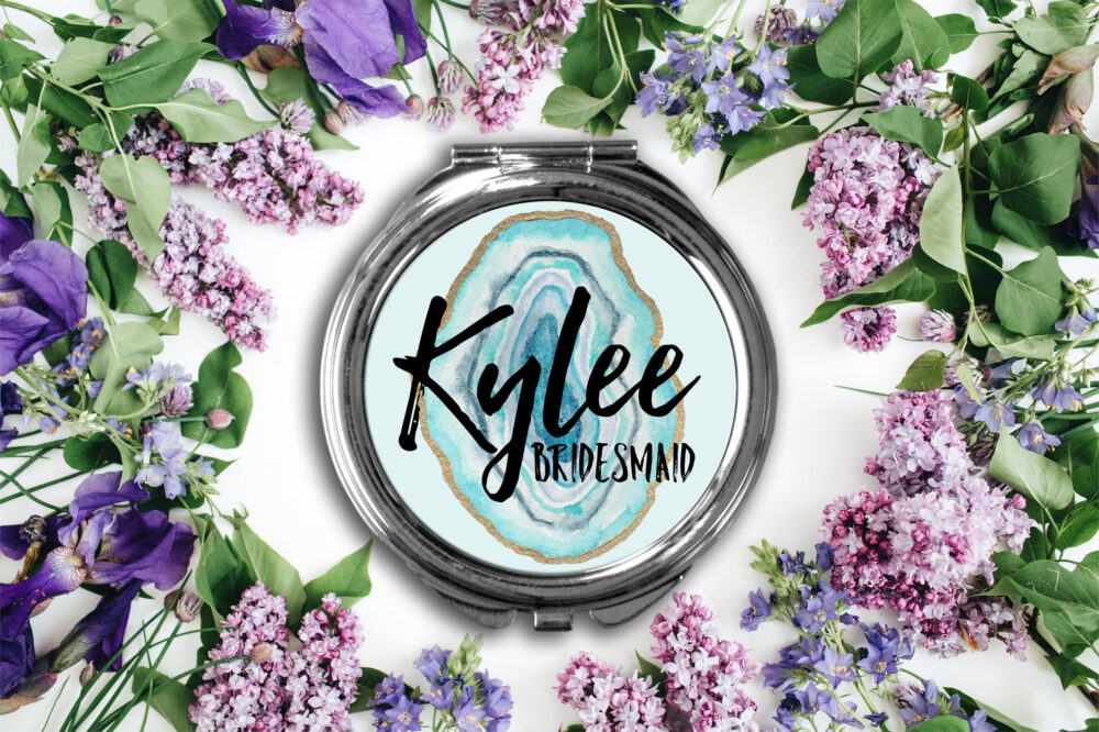 Personalized Agate Compact Mirror -Personalized Mirror, Bridesmaid Bridal Party Makeup