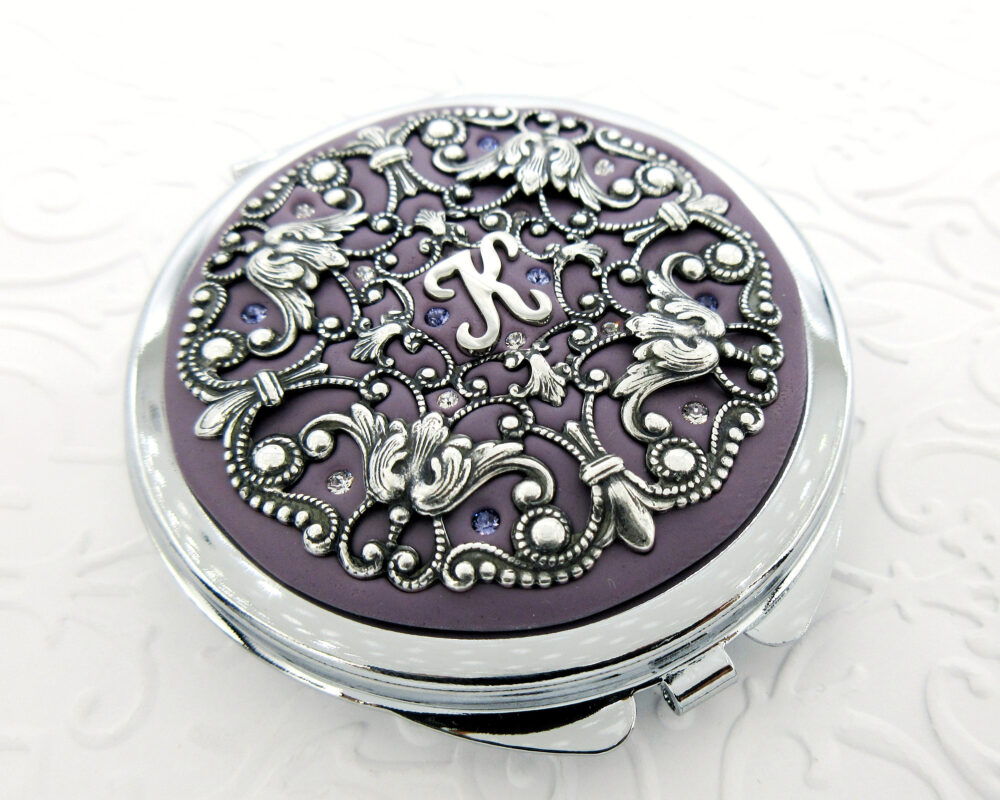 Violet | Bridesmaid Personalized Gift Violet & Silver, Wedding, Custom Compact Mirror , Wedding Party