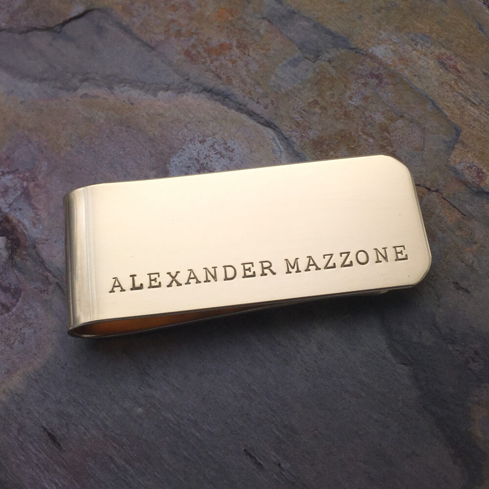 Brass Personalized Money Clip, Custom Wallet, Gold Color, Gift For Groomsmen, Father's Day, Present Dad Or Grandpa, Hand Stamped Message