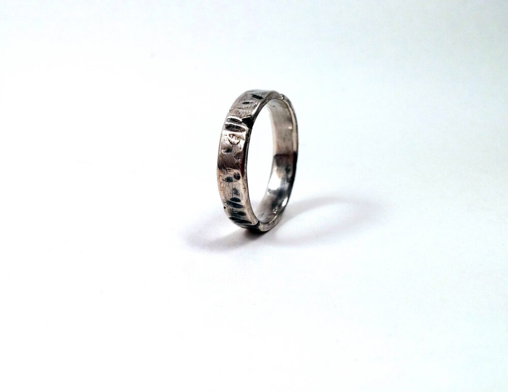 Rugged Solid Sterling Silver Slim Distressed Ring/Viking Wedding 925 Band One Of A Kind Unique Gift For Him