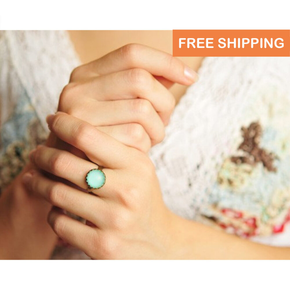 Mint Green Ring, Birthday Gift For Her, Daughter Gift, Mom, Mother Sister, Christmas Women, Statement Ring