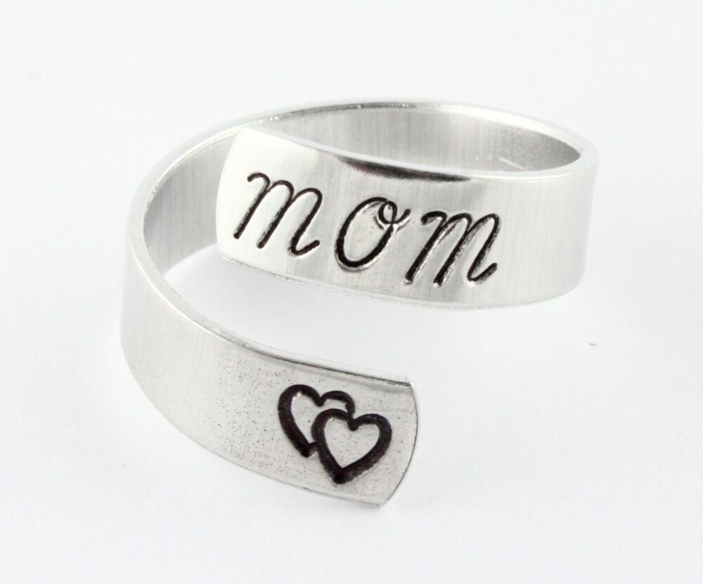 Christmas Gift For Mom - Ring Twist Custom Silver All Sizes Heart Adjustable Stocking Stuffer