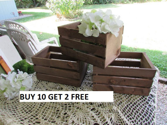 10 Rustic Wood Crates 2 Free , Planter Box Wedding Reception Decorations Mason Jar Vase Centerpiece Wood Reclaimed Country Decorati