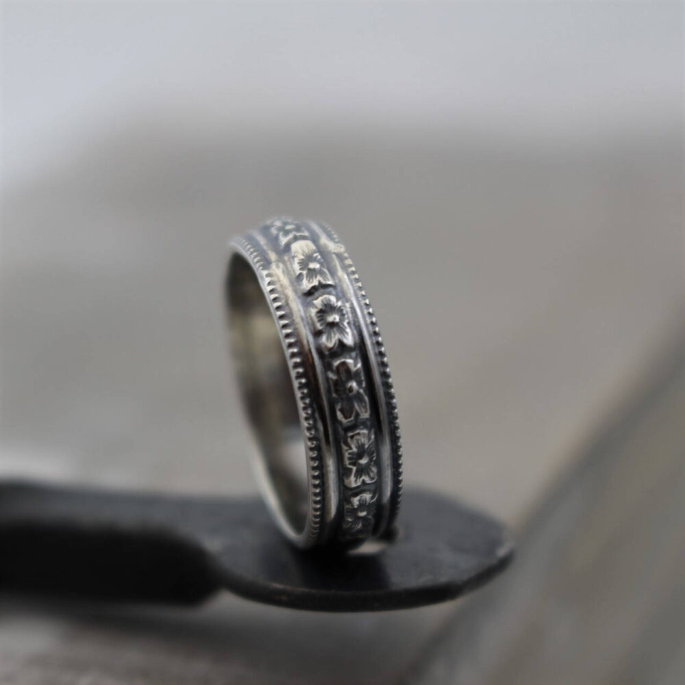 Floral Pattern Ring - Sterling Silver Band Rustic Wedding Gift For Her Jewelry Sale Silver Band Ring