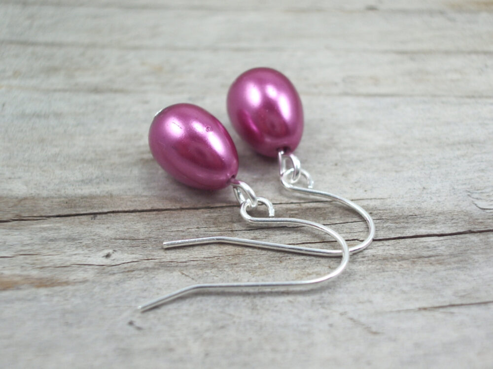 Pink Pearl Earrings Fuschia Berry Minimalist Tiny Glass Drop Jewelry Wedding Bridesmaid