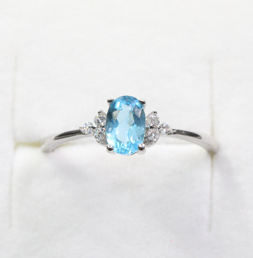 Blue Topaz Ring, 925 Sterling Silver Handmade Engagement Women Gemstone Gift For Her