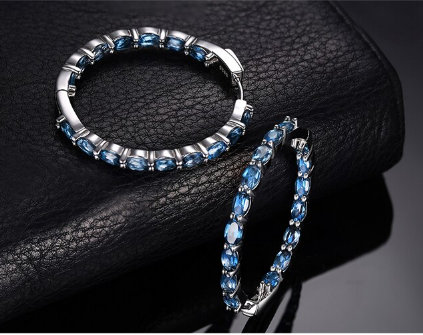 Hoop Earrings, Huge 13Ct Genuine London Blue Topaz Earrings 925 Sterling Silver For Women Gemstones Fashion Jewelry