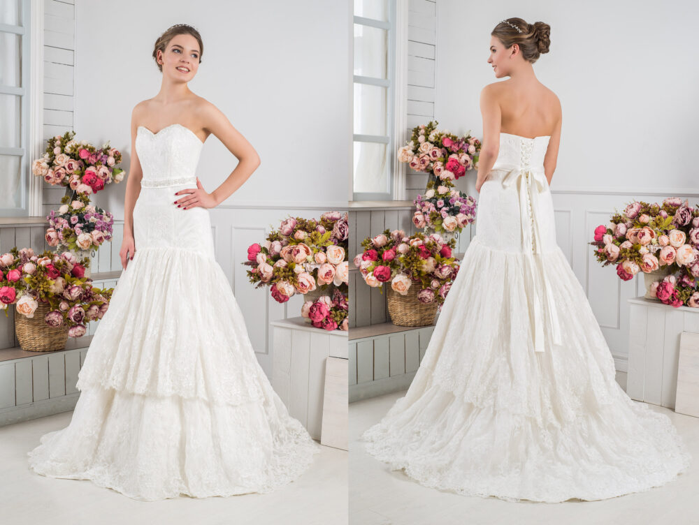 Tiered Wedding Dress Gorgeous Dresses With Skirts Gown Train & Belt Bridal Sash Layered Skirt Plus Size Dress