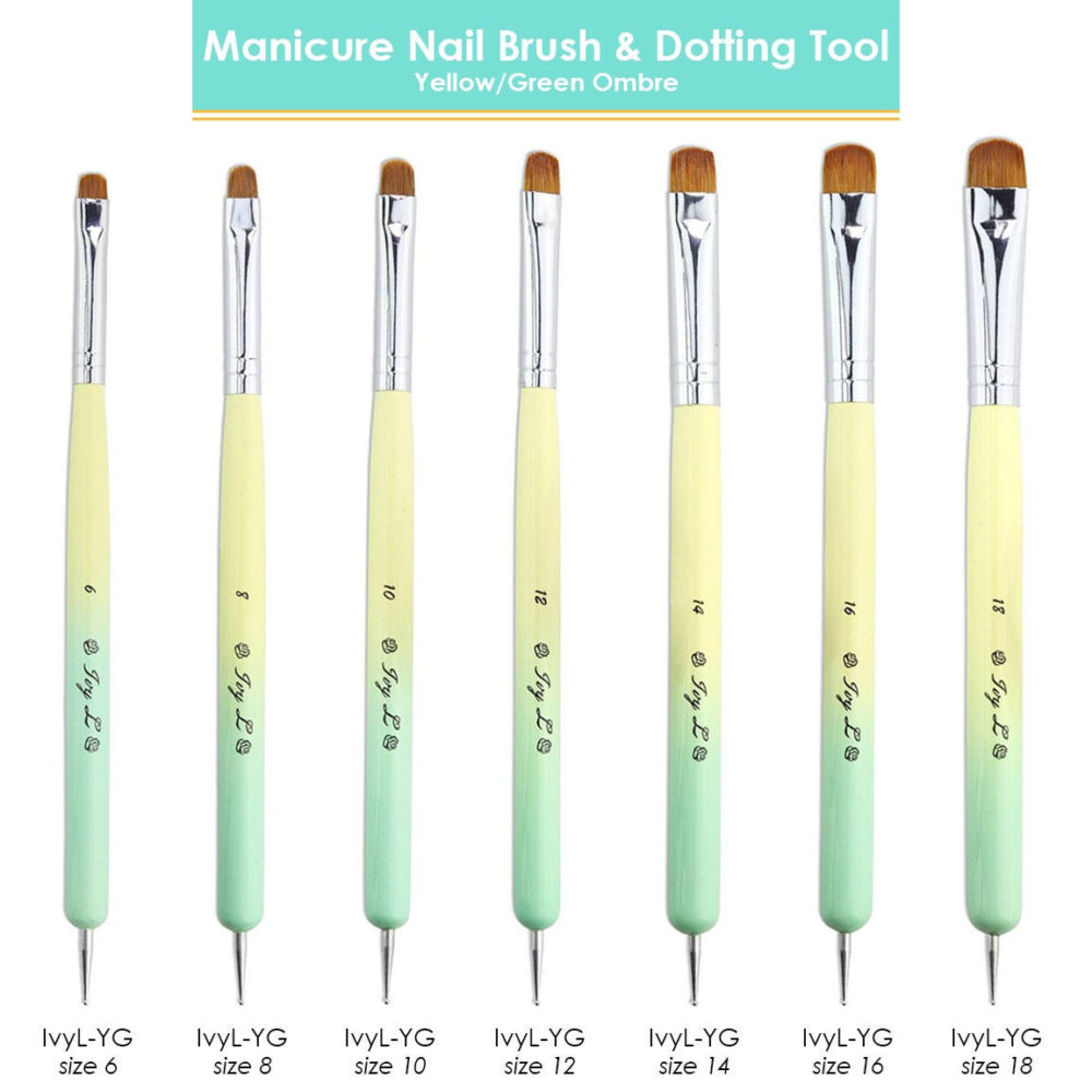 Ivy L French Manicure Gel Nail Brush & Dotting Tool With Yellow & Green Ombre Wood Handle Size 6-18