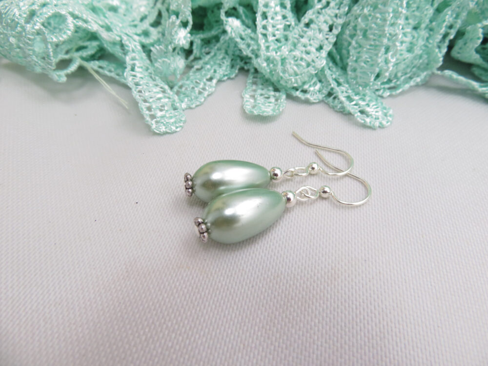 Sage Green Faux Pearl Earrings Glass Drop Blue Jewelry Wedding Bridesmaid