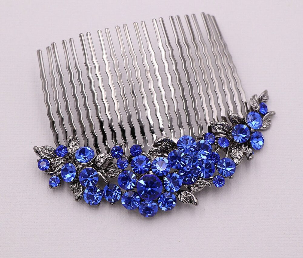 Sapphire Blue Crystal Comb, Crystal Rhinestone Hair Comb Wedding Headpieces, Alexandria Comb