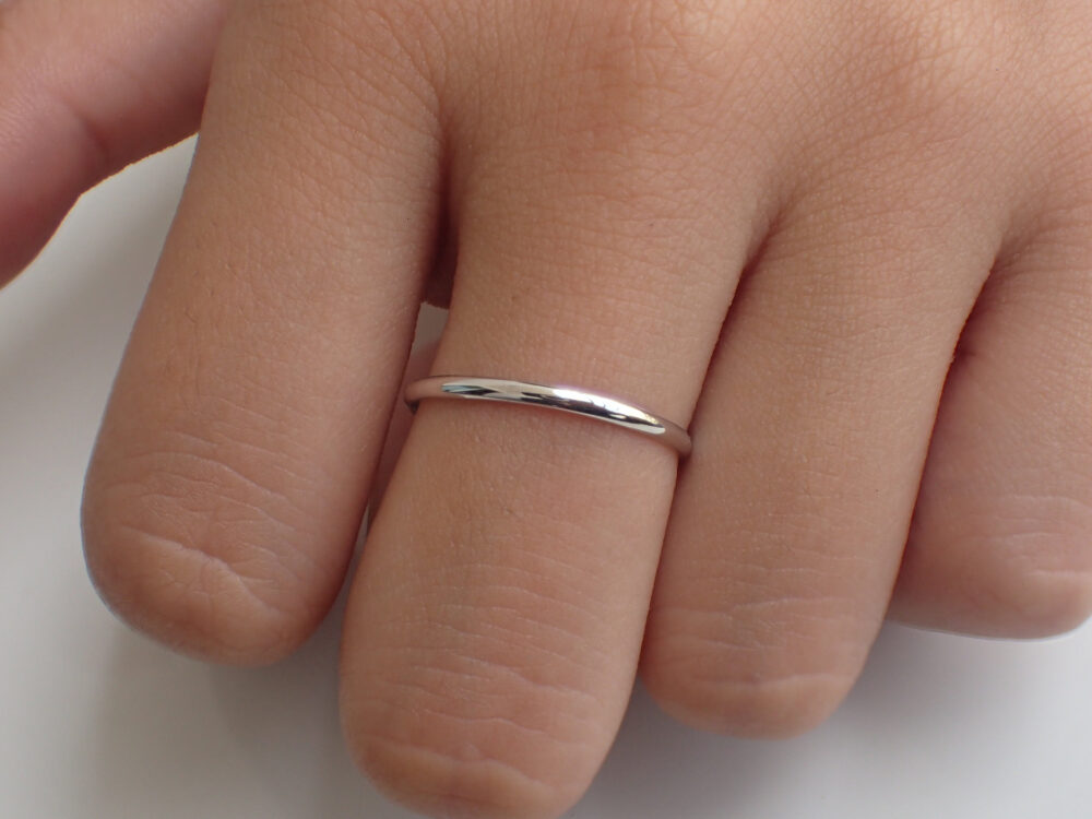 Platinum Plain Band Gift For Mom, Half Dome Band, 1.5mm Wedding Thin Dainty Stackable Simple