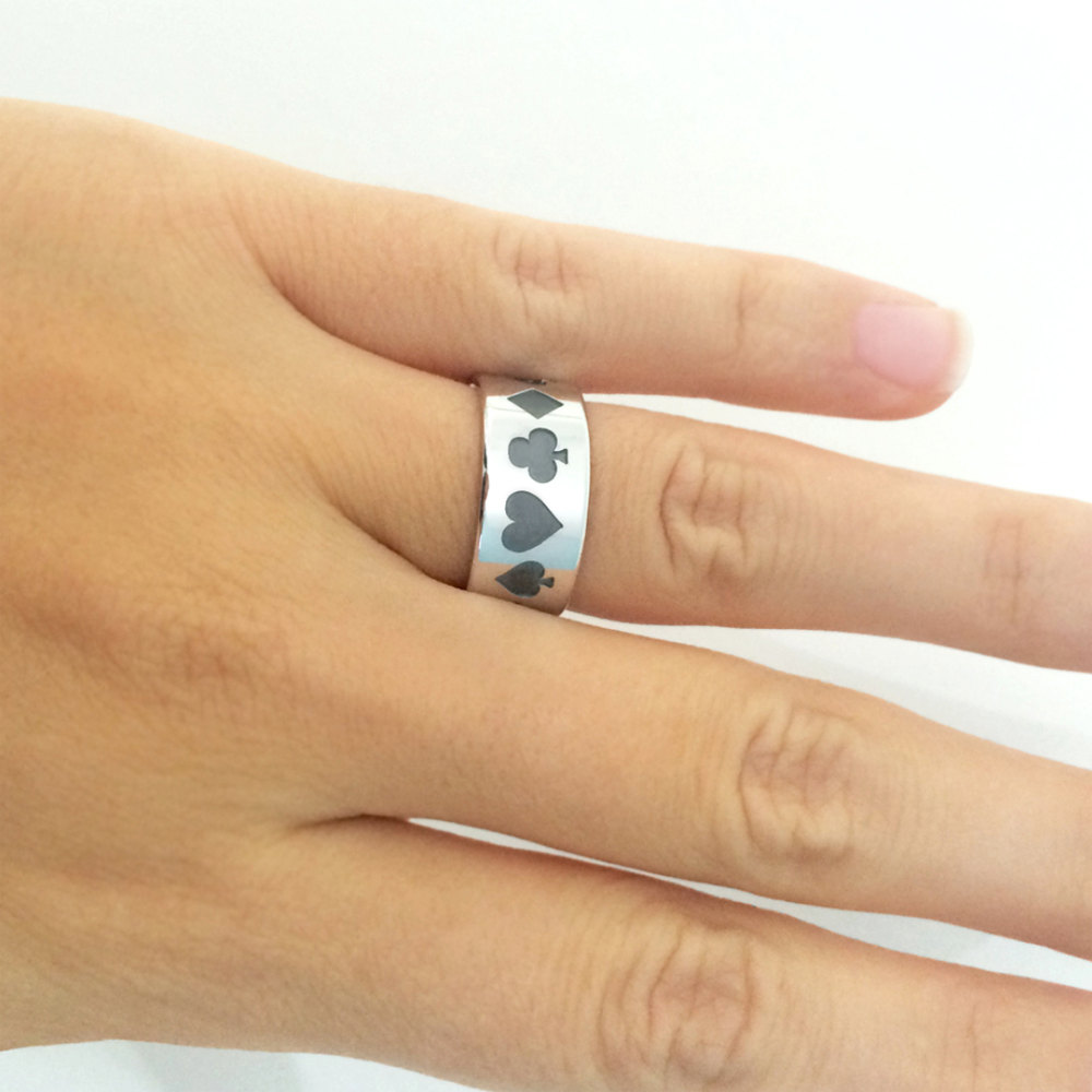 Playing Cards Silver Band Ring, Jewelry, Wedding Gift For Man, Ring