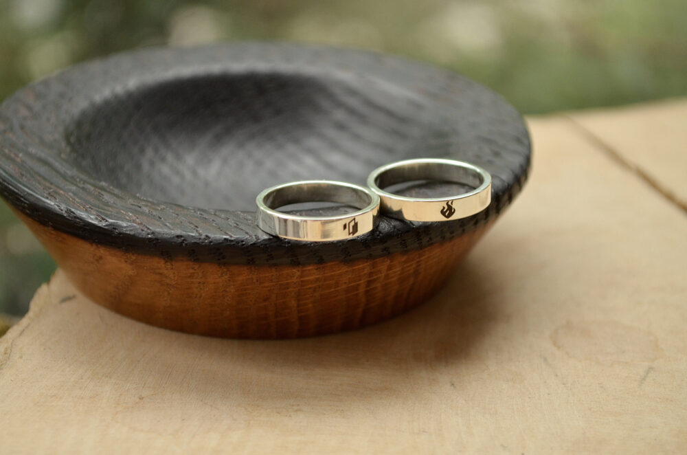 Minimalism Wedding 2Pcs Rings, Personalized Anniversary Gift For Couple, Save The Date Made To Order Set, Matt-Finish Sterling Silver Bands