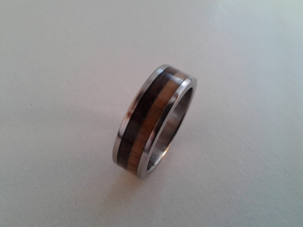 Modern Jewelry, Titanium Band, Olive Wood, Volcanic Rock, Waterproof Ring, Gift For Him, Her, Mens Wedding Women Band