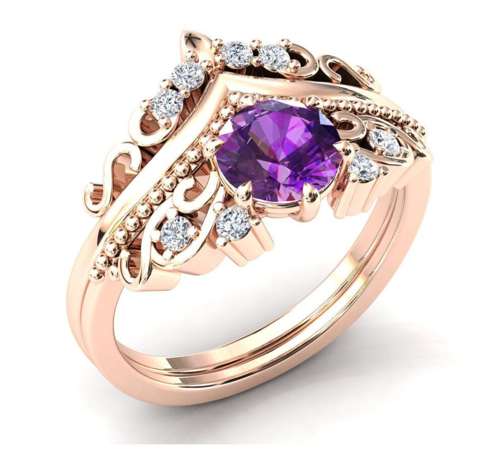 Antique Amethyst Engagement Ring Set Art Deco Wedding Vintage Bridal Anniversary Gift For Women