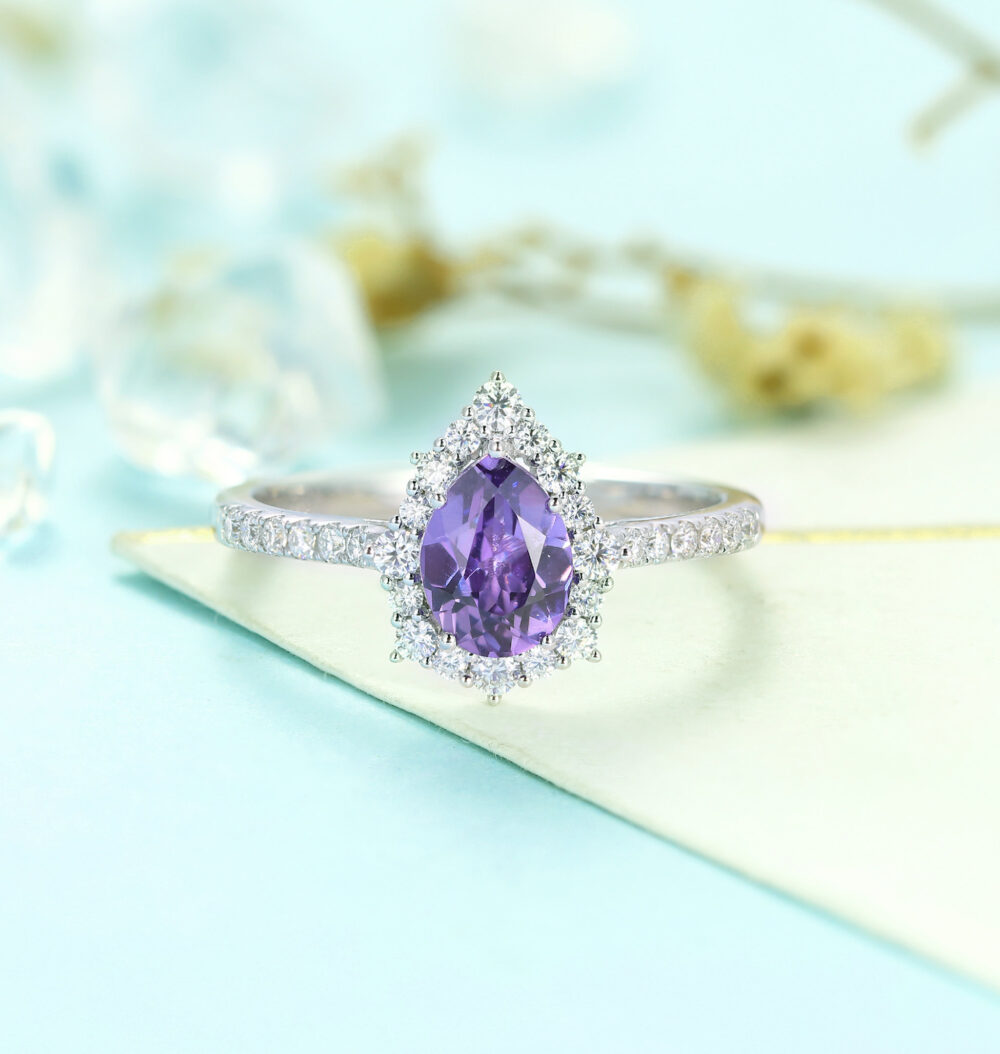 Antique Amethyst Engagement Ring| White Gold Band Women | Vintage Pear Shaped Wedding Ring Unique Bridal Anniversary Gift For Her
