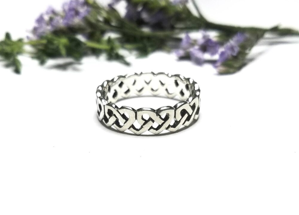 Celtic Ring~Heart Ring~Celtic Heart Ring~Silver Band Knot Ring~Knotted Band~Promise Wedding Band~Gift For Her