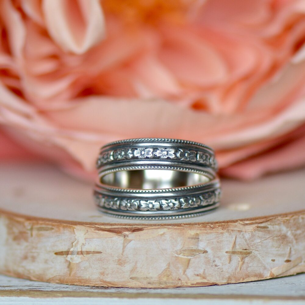 Milgrain Ring, Sterling Silver Band, Patterned Jewelry, Wedding Stacking Boho Gift For Sister