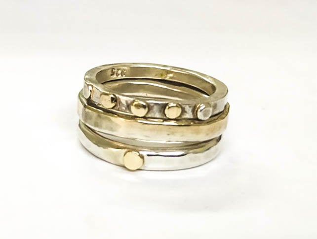 Three Stackable Rings, Wedding Bands , Engagement Ring, Gold & Silver 14K Gold Dots, Silver Bands, Made To Order, Gift For Her
