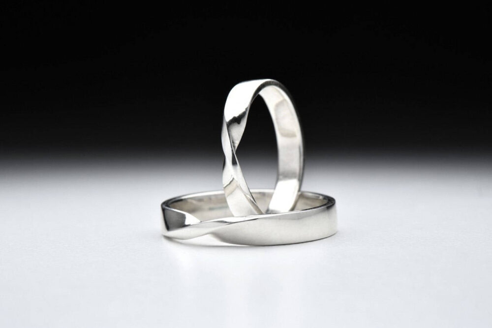 Wedding Knot Silver Bands, Paired Rings, Mobius Strip, Infinity Love Fate, Weave Unisex Jewelry, Simple Elegant Woman Man Ring, Gift For Her