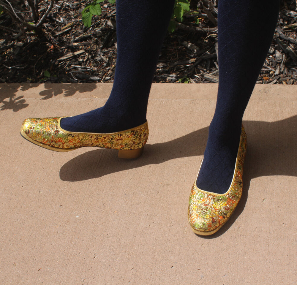 1960S 1970S Vintage Mid Century Retro Mod Womens Ballet Flats Slip On Platform Shoes Size 8.5 9 Brocade Gold Yellow Orange Green Brown Disco
