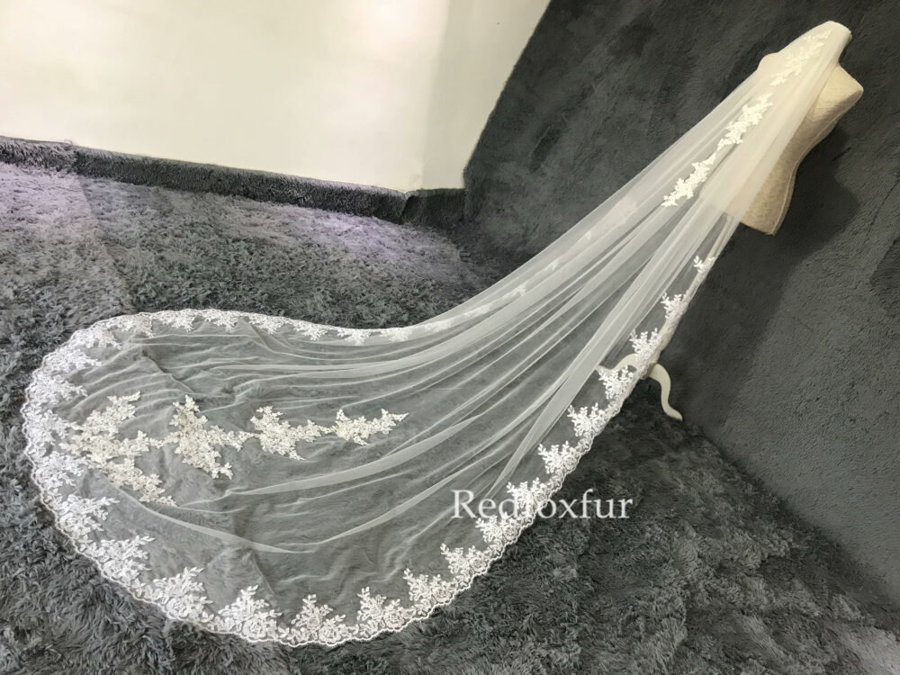 Veil Lace, Bridal Veil, Tulle Wedding Veil, Lace Veil, Veil Hen Party, Veil Wedding, Long Veil, 1Tier Cathedral Veil, Ivory Veil, White, Wedding Gift