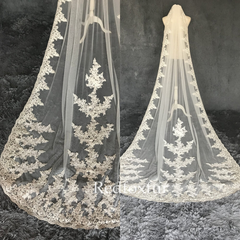 Veil, Wedding Veil, Lace Veil, Bridal Veil, Cathedral Veil, Ivory Wedding Veil, White Veil, Wedding Gift, Floral Veil, Bachelorette Veil