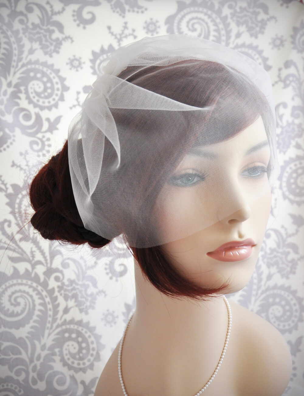 "Wedding Veil - Bridal Veil, Birdcage Ivory, Tulle Blusher White, Off-White, Champagne, Blush, 11"" 104Bc"