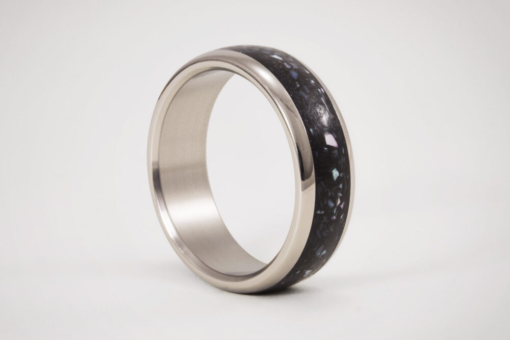 Mens Concrete Wedding Ring With Inner Titanium, Black Nacre, Unique Engagement Band, Handmade Jewelry, Gift For Mens