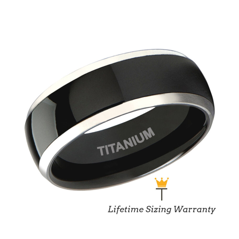 Titanium Ring Black Shiny Polished Center With Silver Edges, Mens Wedding Band, Engagement & Promise Rings, Gift For Him