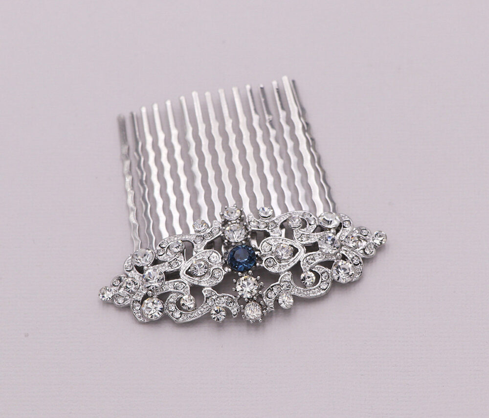 Hair Comb Wedding, Sapphire Crystal Pearl Rhinestone Hair Comb, Bridal Comb Rhinestone, Wedding Headpieces, Valerie Blue