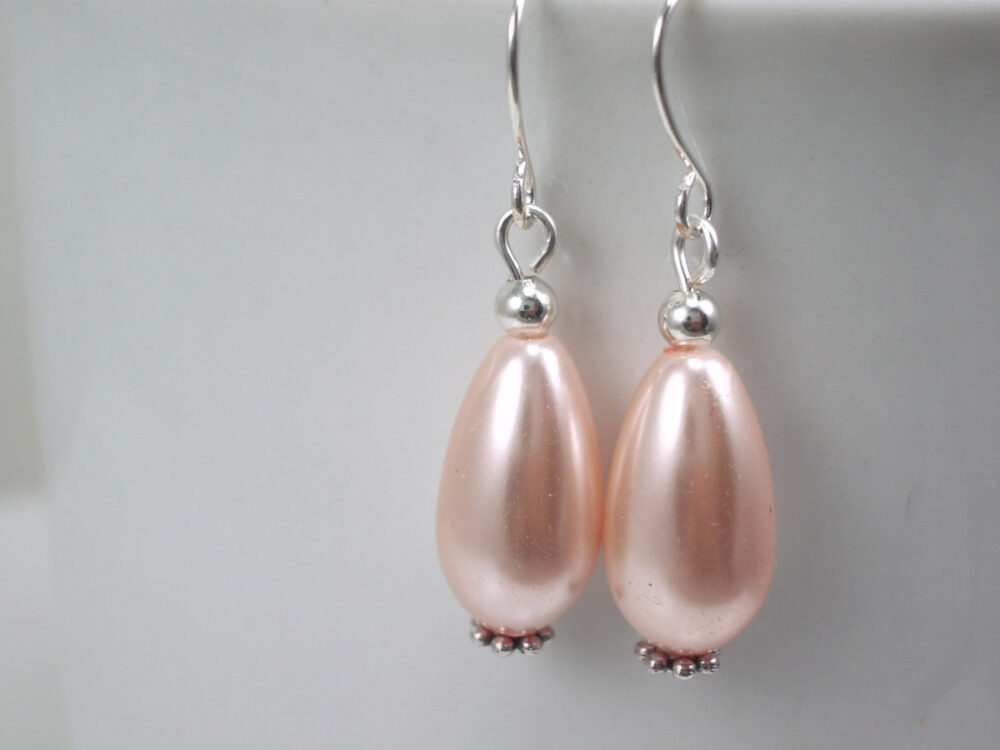 Light Peach Pearl Earrings - Minimalist Glass Drop Wedding Bridesmaid Jewelry