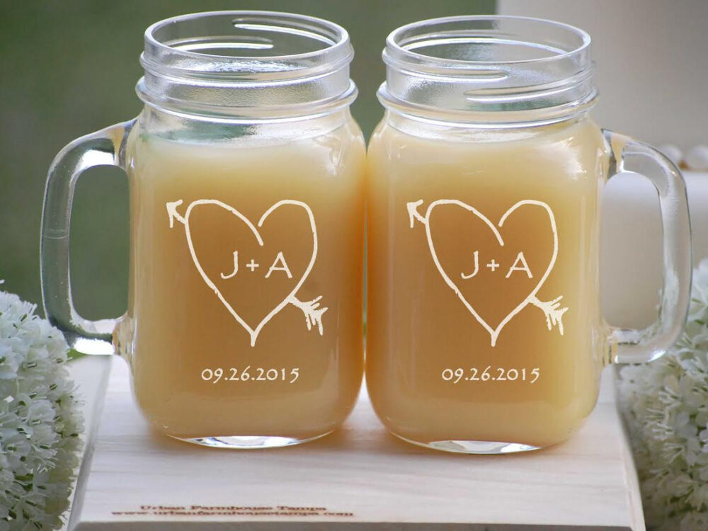 Valentines Day Gift For Couples, Personalized Mason Jar Glasses, His & Hers - Custom Engraved Gift, Rustic Heart Jars