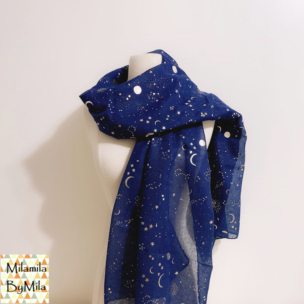 Galaxy Gold Foil Scarf, Moon & Stars Print Scarf, Gold Foiled Fashion Ladies Scarves, Womens Scarves