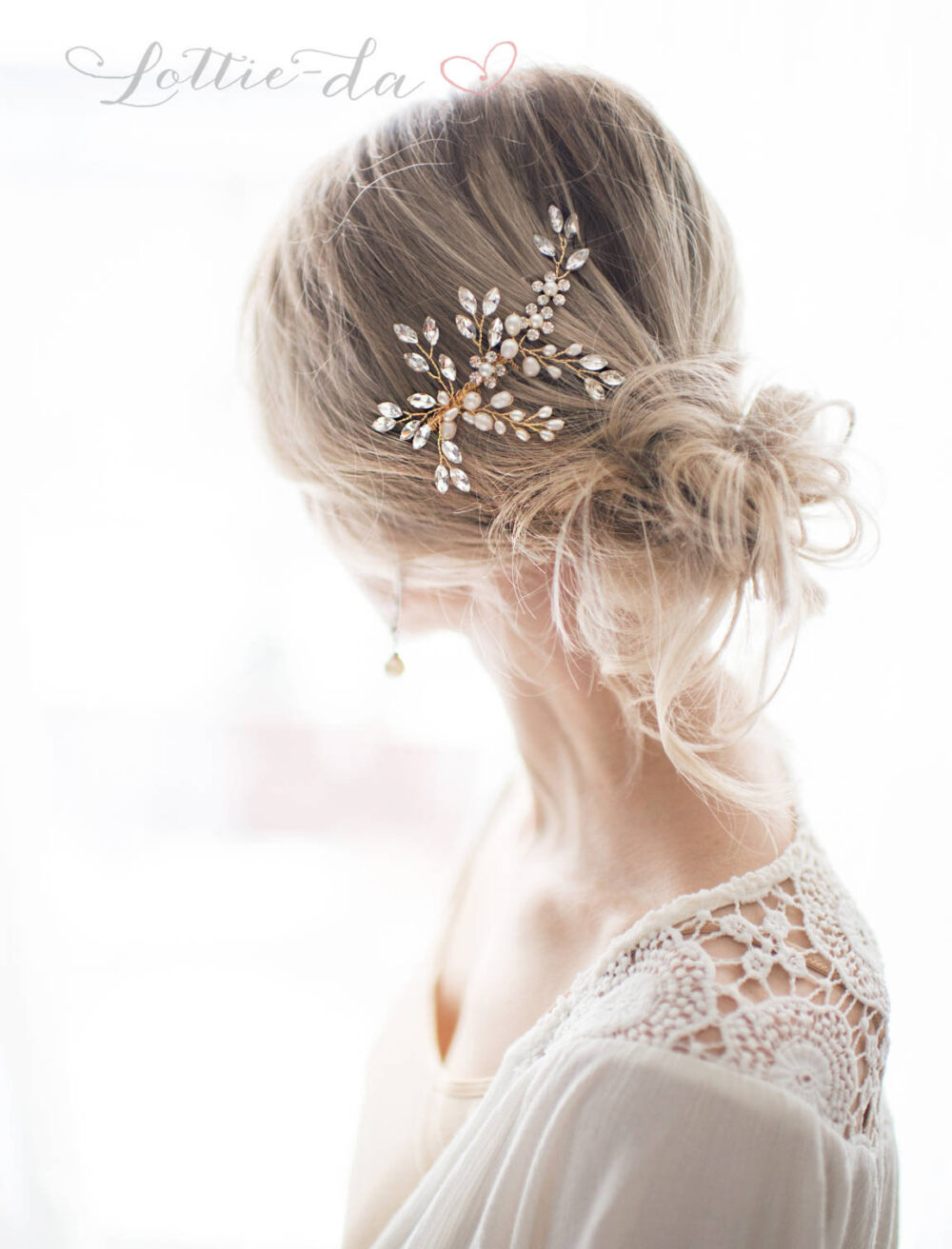"""Boho Wedding Hair Accessory Comb With Pearls & Marquise Crystals in Gold Or Silver """"Sadie"""""""