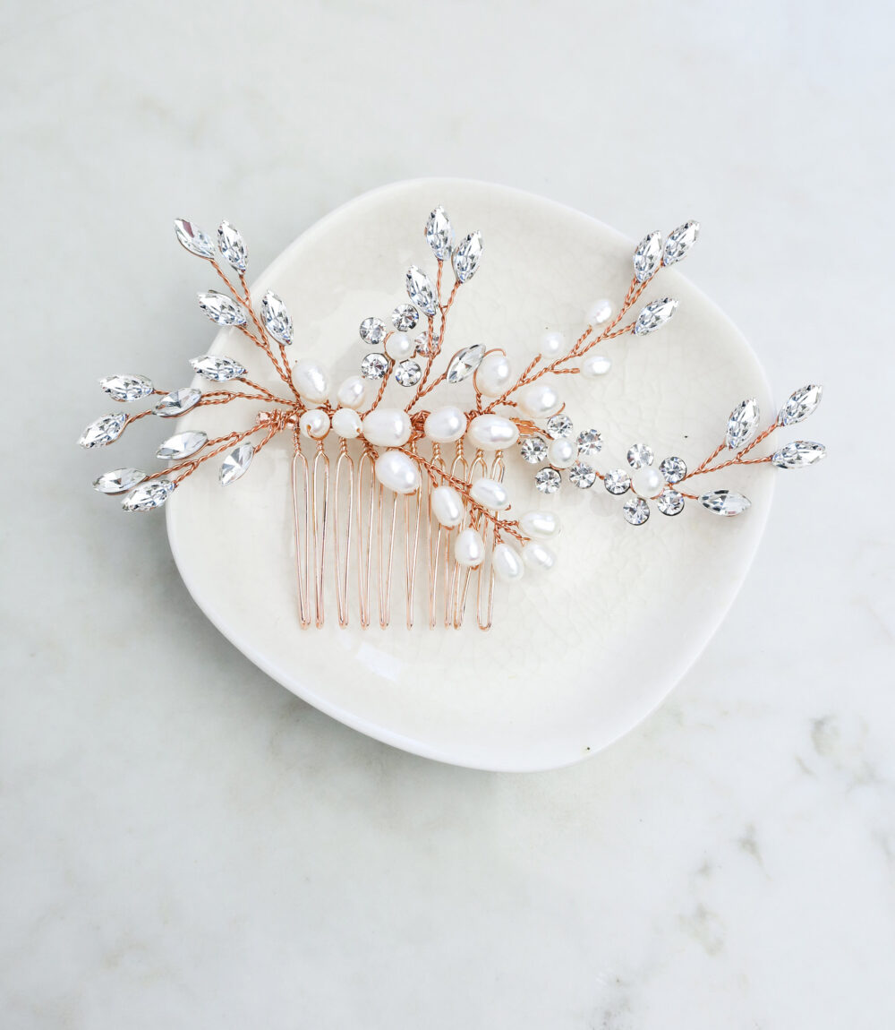 "Boho Wedding Hair Accessory Comb With Pearls & Marquise Crystals, Beach Rustic Country in Gold Or Silver ""Sadie"""